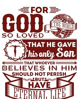 estampa camiseta evangélica For God so loved the world